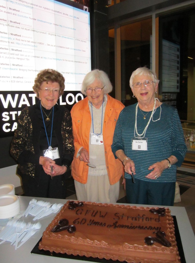 Three Founding Members of CFUW Stratford Club.  CFUW Stratford is celebrating its 60th Anniversary!