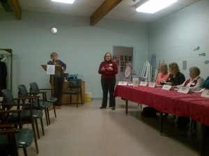 Candidate Kerry McManus responds to a question regarding public buildings and spaces in the City of Stratford,