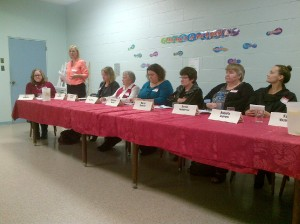 Candidate Sheri Patterson addresses the audience and fellow women candidates.