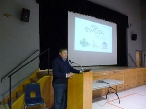 Stratford Mayor Dan Mathieson speaks at the Transportation Forum