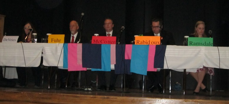 Candidates for Perth-Wellington Irma DeVries (Christian Heritage), Roger Fuhr (Independent), Stephen McCotter (Liberal), Ethan Rabidoux (NDP), and Nicole Ramsdale (Green). Noticeably absent was John Nater (Conservative).