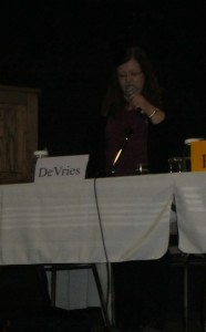 Candidate Irma DeVries speaks on Women's Equality.