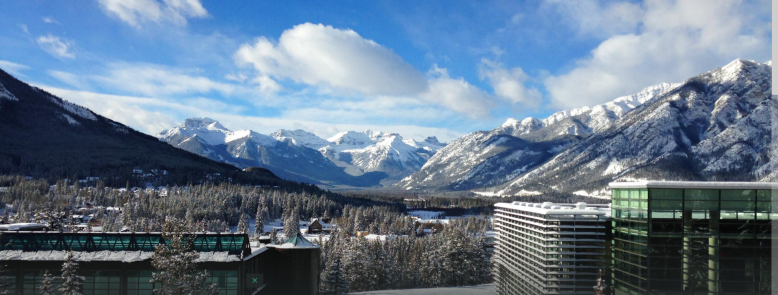A snowy view of the Banff Centre.