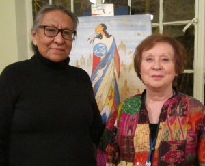 Artist Maxine Noel and Pat Reavy of CFUW-Stratford. Maxine has created Not Forgotten, an artwork to remember and honour the spirits and presence of missing and murdered aboriginal women and girls.