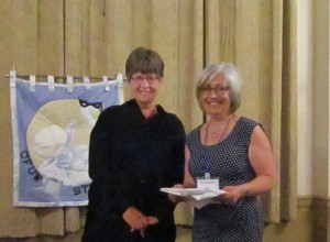 Mary Jane Amey, incoming President CFUW-Stratford Club thanks Past President Charlotte Gillett for her diligence and grace in 2015-2016.