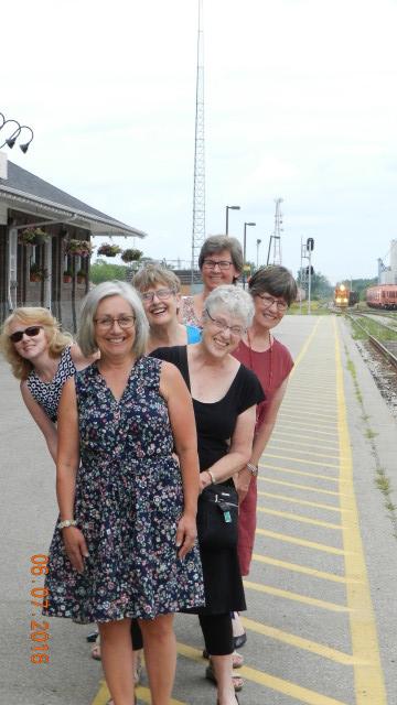 CFUW-Stratford Club members Charlotte Gillett, Sheila Clarke, Nora Walden, Louise McColl, Mary Jane Amey and Mary Anne Van Den Heuvel wait for a train!